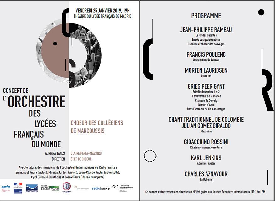 Le programme du concert