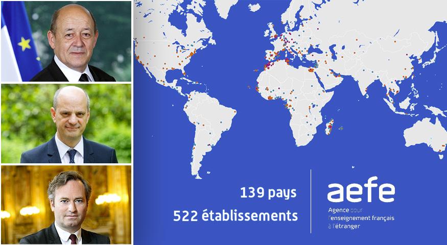 Visuel avec la carte du réseau scolaire mondial et, en vignettes, les portraits des personnalités du gouvernement : Jean-Yves Le Drian, Jean-Michel Blanquer et Jean-Baptiste Lemoyne