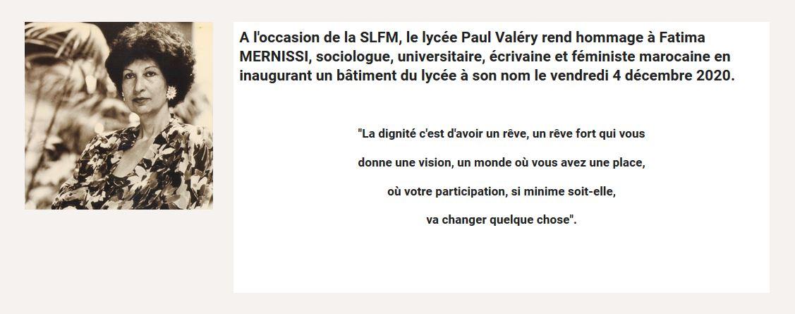 Image relative au nom de Fatima Mernissi donné à un bâtiment inauguré au lycée Paul-Valéry de Meknès