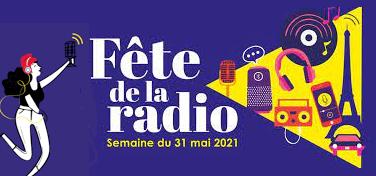 Visuel pour la Fête de la radio (Marianne tendant un micro et pictogrammes évoquant l'univers de la radio)