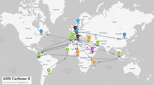 Aperçu de la cartographie des projets Carbone o de 21 établissements du réseau AEFE à travers le monde