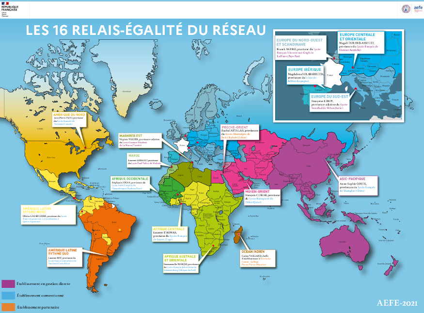 Aperçu de la carte des relais-égalité dans les 16 zones de mutualisation du réseau AEFE