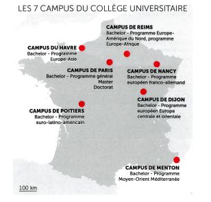 Carte de France avec l'emplacement des campus du Collège universitaire de Sciences Po