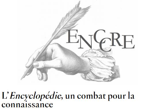 Illustration (main qui tient une plume pour écrire) avec un lien vers un dossier pédagogique sur l'Encyclopédie