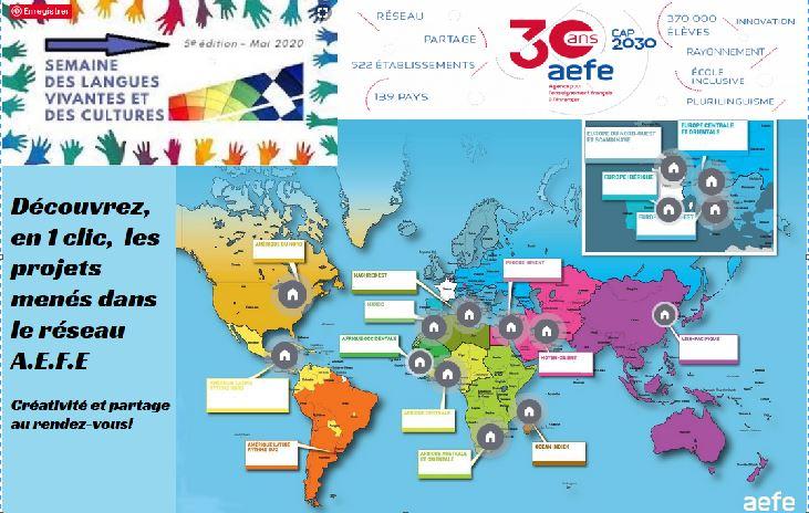 Visuel du portail des padlets de la semaine/mois des langues de toutes les zones du réseau AEFE