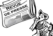 """Picto """"La presse en parle"""" : dessin d'un crieur de journaux"""