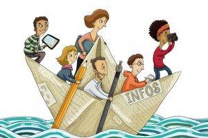 Dessin de presse(journalistes sur un bateau en paper)