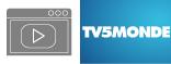 Logo TV5 et dessin de vidéo stylisé