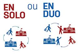 Vignette d'infographie sur les deux formules d'échanges possibles : en solo ou en duo