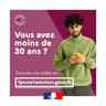 """Vignette """"Vous avez moins de 30 ans ? Trouvez vos aides sur 1jeune1solution.gouv.fr"""""""