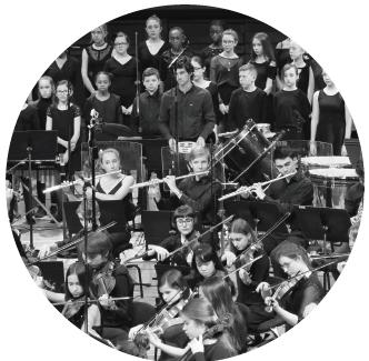 Aperçu d'un concert (visuel en noir et blanc de forme ronde