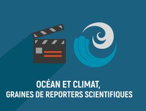 """Visuel pour le projet """"océan et climat, graines de reporters scientifiques"""" représentant un clap de cinéma et une vague"""