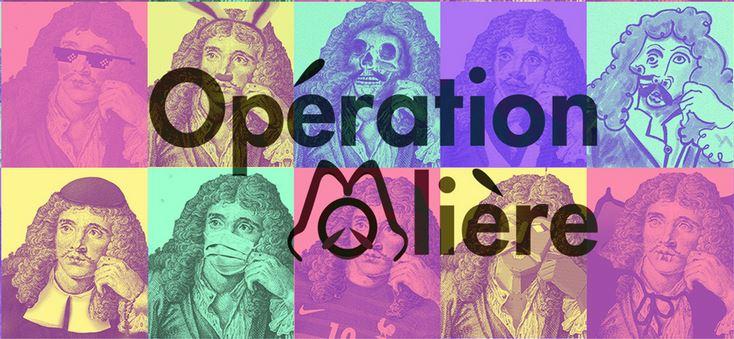 Visuel pour l'Opération Molière : mosaïque de portraits de Molière, chacun avec un attribut différents
