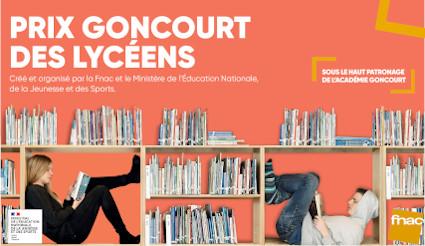 Visuel du Goncourt des lycéens (dans les étagères d'une bibliothèque, deux adoslescents, fille et garçon, sont absorbés par leur livre)sourt des lycéens (