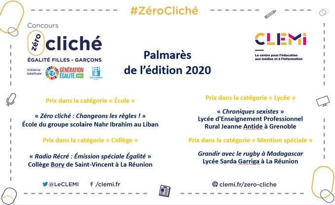 Image où sont nommés les productions lauréates du concours Zéro Cliché 2020