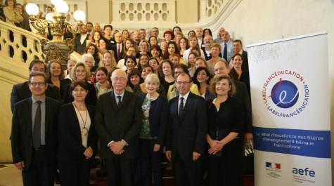 Les participants au 3e forum mondial des établissements LabelFrancÉducation réunis au Sénat.