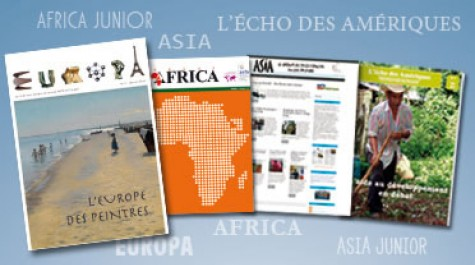 Couvertures des quatre revues : Asia, Africa, Asia et L'Écho des Amériques. © AEFE