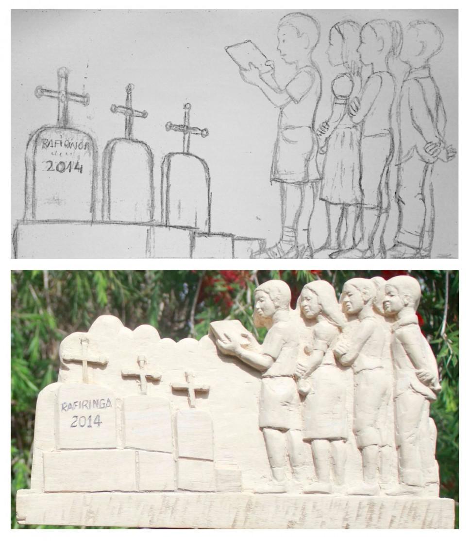 Un croquis conçu par les élèves : ici l'hommage rendu au tirailleur par les camarades du Lycée Poincaré de Bar-le-Duc © Lycée français de Tananarive