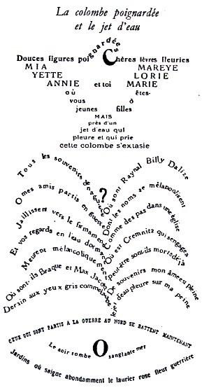 Calligramme d'Apollinaire : La colombe poignardée et le jet d'eau