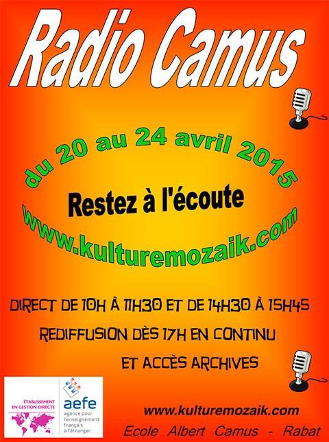 Affiche de la seconde édition de la webradio Radio Camus qui va émettre pendant la semaine du 20 au 24 avril. © École Albert-Camus