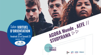 Rendez-vous vendredi 22 et samedi 23 janvier pour le premier salon virtuel d'orientation organisé par l'AEFE, AGORA MONDE et Studyrama, sur le thème « Étudier en France »