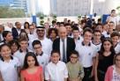 """Le lycée Massignon, """"épicentre"""" culturel à Abu Dhabi, selon le ministre Jean-Yves Le Drian venu inaugurer la nouvelle école maternelle"""