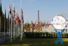 """L'Unesco à Paris : un cadre idéal pour la finale """"d'AeH"""". Ici, les jardins, avec les drapeaux des pays membres de l'Organisation des Nations Unies pour l'éducation, la science et la culture."""