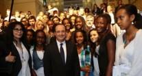 Rencontre entre le président François Hollande et la communauté française au lycée Guebre-Mariam d'Addis Abeba
