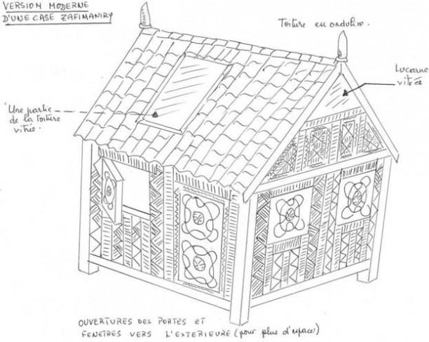 Maquette d'une maison traditionnelle Zafimaniry de Madagascar