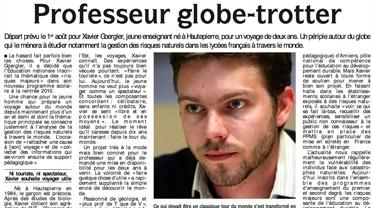 """L'article """"Professeur globe-trotteur"""" paru dans les DNA"""