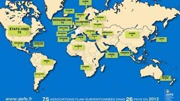 Carte des associations FLAM subventionnées en 2012