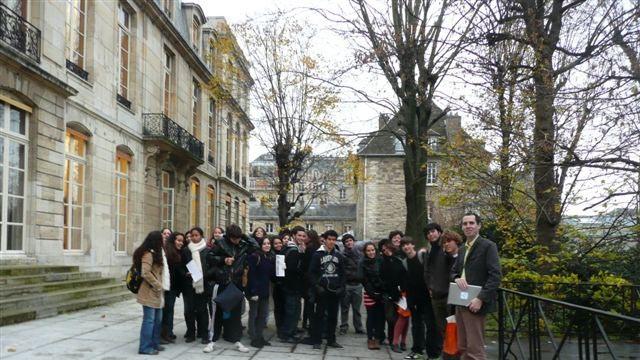 La délégation sur la terrasse de l'École des Mines