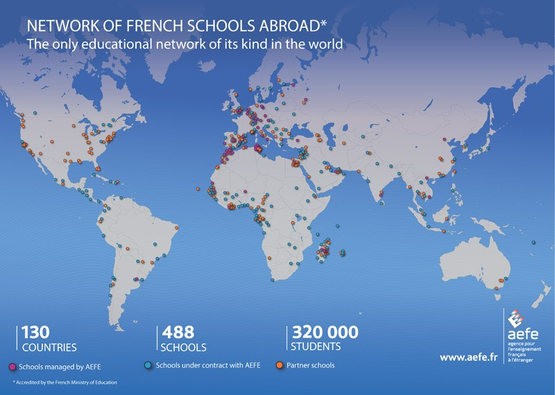 Map showing the network of French schools abroad