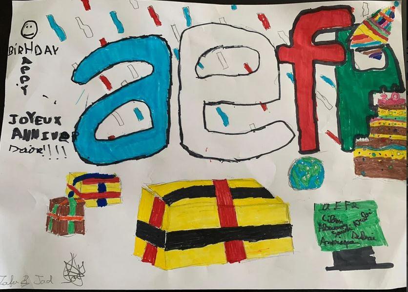 Dessin dédié à l'AEFE par deux élèves