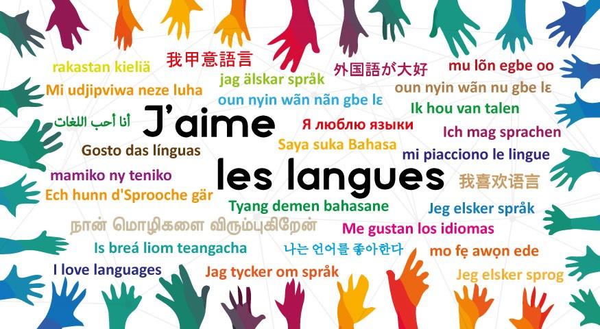 """""""J'aime les langues"""" en de multiples langues"""