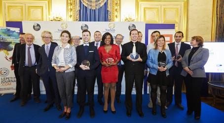 Les lauréats avec les parrains au Quai d'Orsay