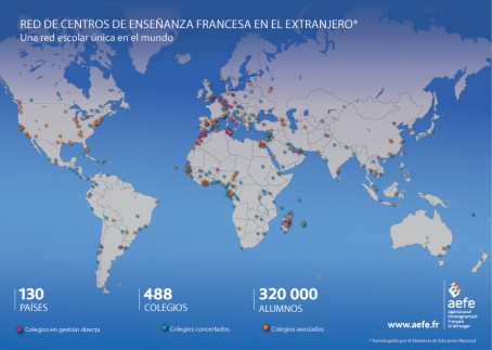Mapa de la red de centros de enseñanza francesa en el extranjero