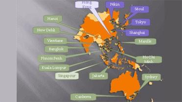 La zone Asie-Pacifique et les 17 établissements concernés par la nouvelle gestion des corrections